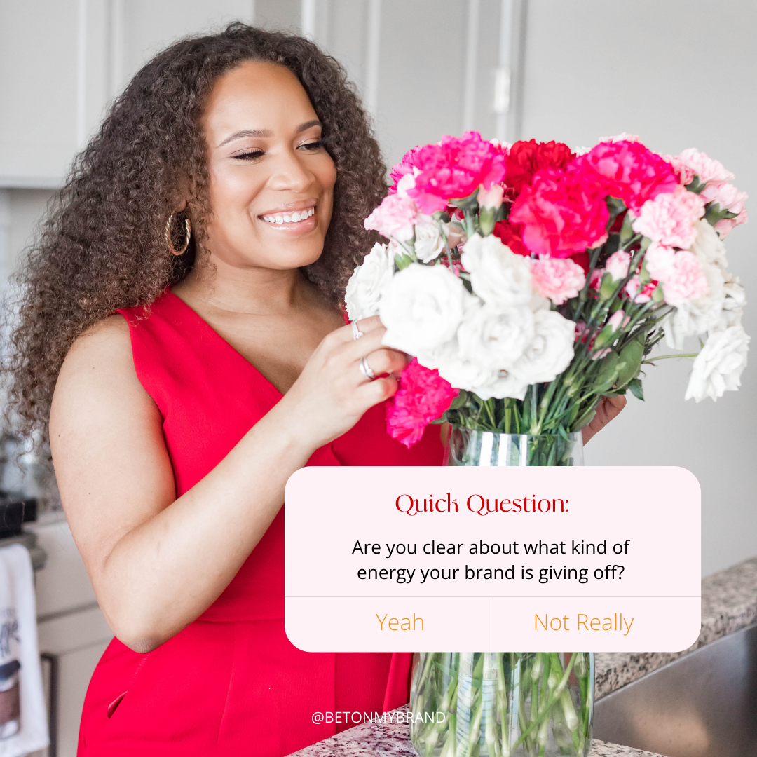 Tiera Gray of Bet On My Brand tending to red pink flowers With Quick Question pop up